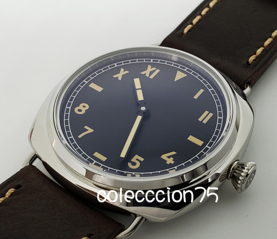 Reloj Mar Ina Militar 44mm Maquinaria Cuerda Correa Piel