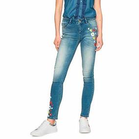& Jeans Nuevos Bordados Marca Desigual 38 Con Envío