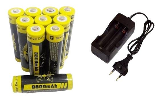 10 Baterias 18650 8800 Mah 4.2v Li-ion + Carregador Duplo