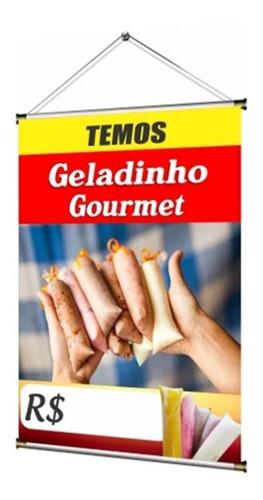 Banner Pronto Temos Geladinho Gourmet