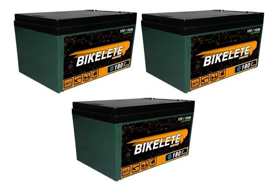 Kit C/ 3 Bateria Ciclo Profundo 12v 12ah Bike Original