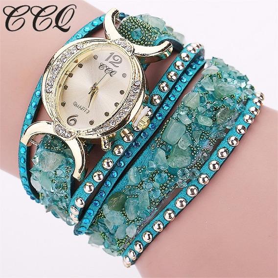 Relógio Nova Moda Pulseira De Couro Mulheres Rhinestone