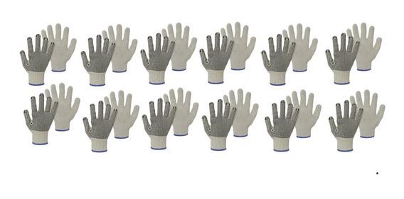 Luva Tricotada Em Algodão Pigmentada (4 Fios) 12 Pares