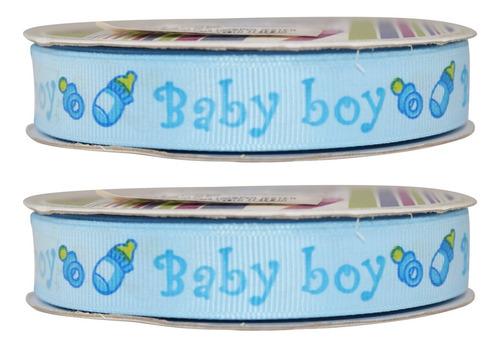Imagen 1 de 3 de Listón Popotillo Estampado Baby Shower, 2 Piezas,bb2-b
