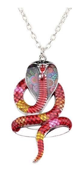 Colar/corrente Com Pingente Serpente/cobra Colorido Lindo!!