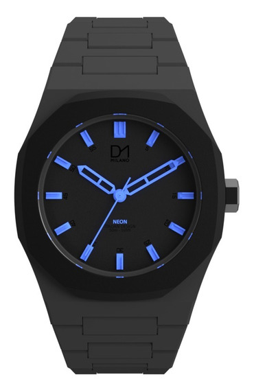 Reloj Ultra Ligero Neon Gray Black Light Blue D1 Milano