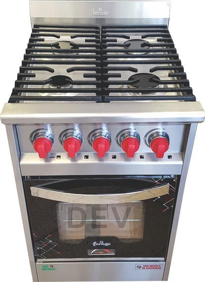 Cocina 4 Hornallas 53 Cm Versátil Neo Fornax Pta Vidrio !