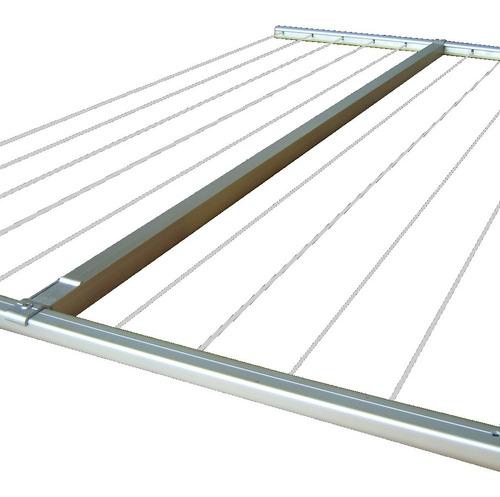 Parrilla Estructura Aluminio Tender Tendedero Colgante Techo Con Cable De Acero Forrado Marca Abaco