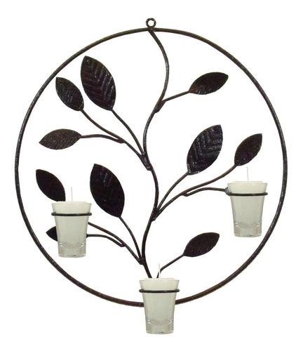 Mandala Folhas 38 Cm Decorativa Parede Porta Vela Castiçal