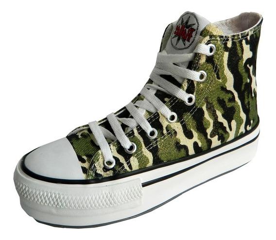 Zapatillas Con Plataforma, Glitter, Reptil, Lona
