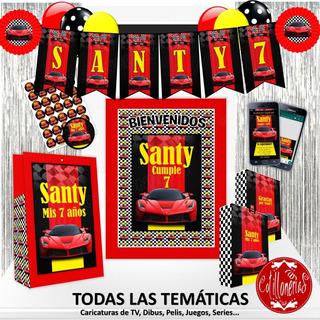 Combo Cotillón 30 Bolsitas Banderín Piñata Cartel Invitación
