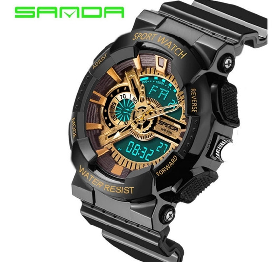 Relógio Esportivo Dourado Pulso Mecânico Digital Led Alarme