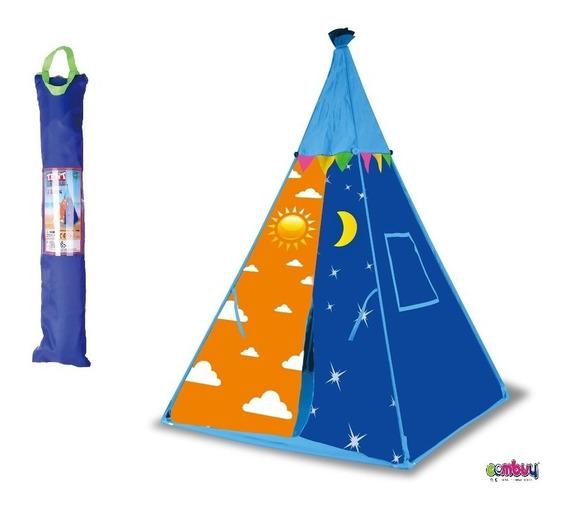 Tenda Toca Barraca Cabana Infantil Indígena Portátil Azul