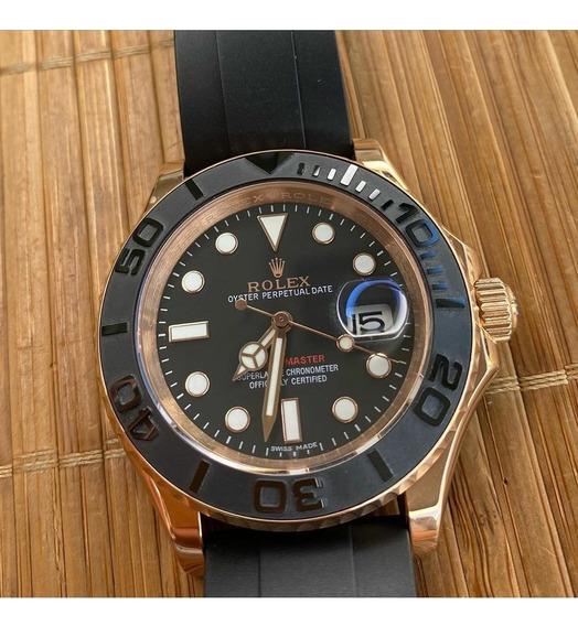 Relógio Rolex Yacht Master Cx Rose Pulseira Borracha