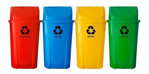 Imagem 1 de 10 de Kit 4 Lixeiras Plasticas Coleta Seletiva 60l Com Adesivo