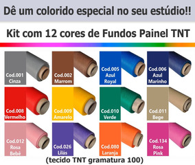 Fundo Fotográfico Infinito Kit Tnt 12 Cores - Tam 2,70x6,00m