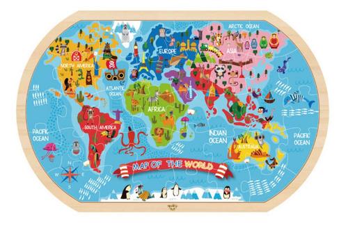 Imagen 1 de 3 de Puzzle Mapa Del Mundo Prescolar 37 Pcs
