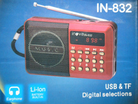 Radio ,mp3 E Som Inova Usb, Tf Fm In-832 Recarregavel Preto