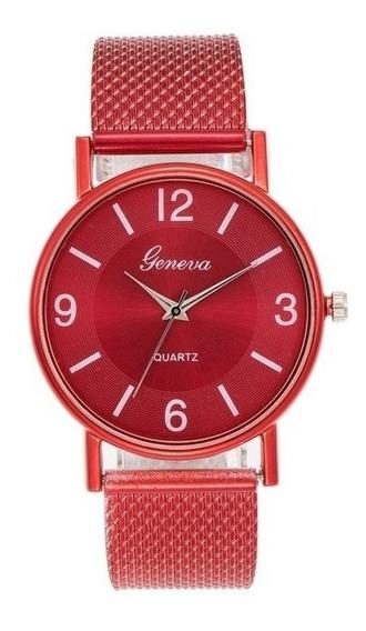 Relógio Geneva Quartz Vermelho Feminino + Brinde Especial