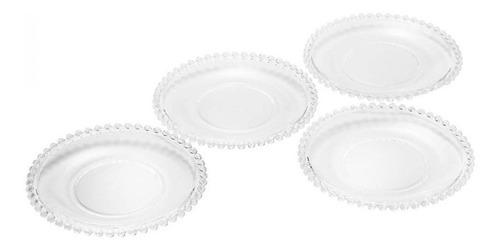 Imagem 1 de 9 de Conjunto De Pratos Com 4 Peças 19 Cm Cristal Pearl Loi
