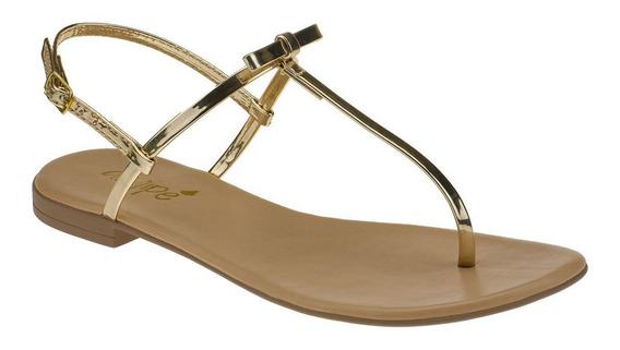 Rasteira Flat Sandália Moda Angipé Ouro Laço