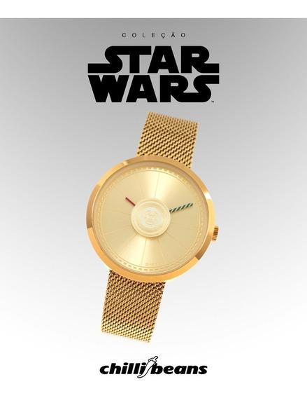 Relógio Chili Beans Dourado Edição Limitada Star Wars C-3po