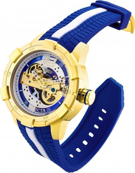 Relógio Invicta 28588 Dourado Aço Borracha Azul * S1 Rally