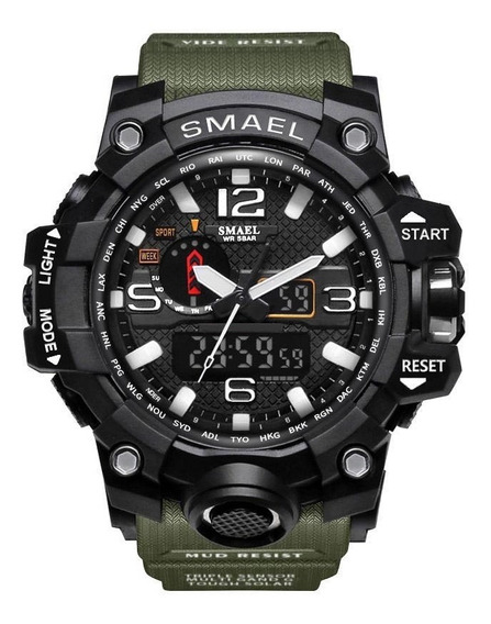 Relógio Militar Esportivo Smael 1545 Verde Oliva Exercito