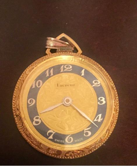Reloj Dorado De Cuerda Para Colgar Dorado Con Carátula Azul