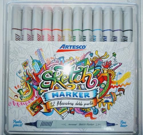 Sketch Marker Artesco X12 Plumones Dob Punt Pincel Lettering