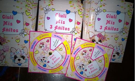 Tarjetas Cumpleaños Invitaciones Perritos Simones X 25