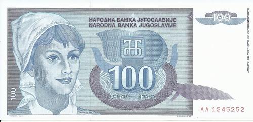 Imagen 1 de 2 de Yugoslavia 100 Dinara 1992