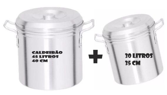 2 Caldeirão Panela Latão Aluminio P/ Fabrica Cerveja 45 L