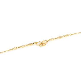 Pulseira De Ouro 18k Com Borboleta Em Zircônia Branca