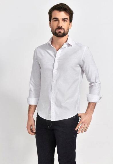 Camisa Slim Fit Branco Texturizado Zero