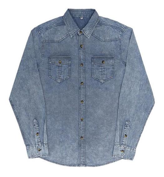 Camisa Casual Jeans Manga Longa, 26966