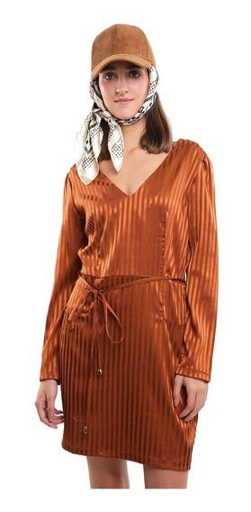 Vestido Escote V Mujer Con Jareta En Cintura Color Oro Lob