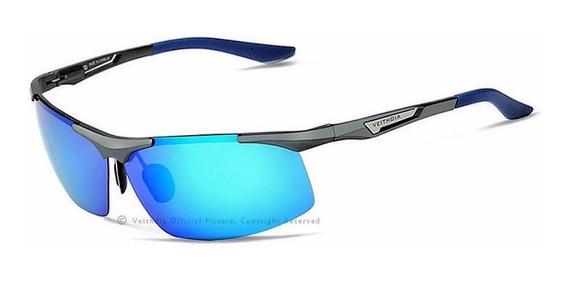 Lentes De Sol Veithdia Polarizado Uv400 Aluminio V6562 Azul
