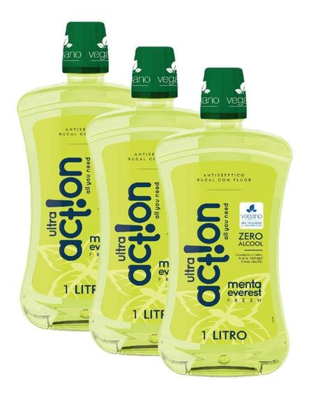 Kit Antisséptico Ultra Action Zero Alcool Menta Everest-3 Un