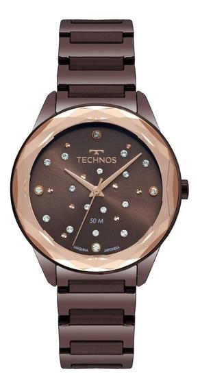 Relógio Technos Feminino Crystal Elegance 2036mkj/4m Marrom