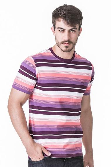 Camiseta Hifen Listrada Coral