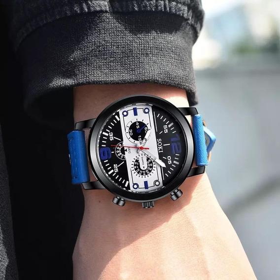 Relógio De Pulso Masculino Moda Couro Banda Analógico Quartz