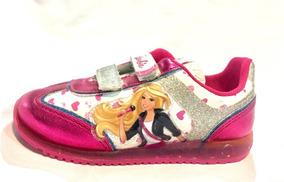 Tenis Para Niña Barbie Fiusha/blanco/plateado Con Brillos