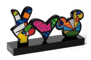 Placa Decorativa Peace, Love And Mickey By Britto