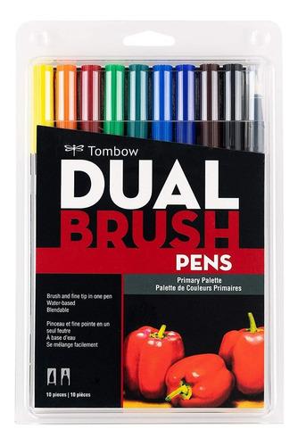 10 Marcadores Tombow Dual Brush / Colores Primarios