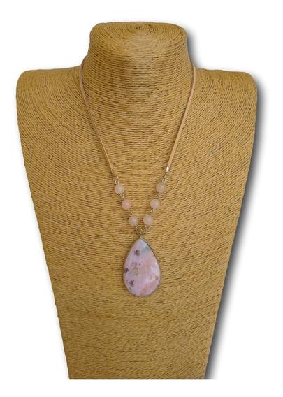 Colar De Pedra Ágata Com Quartzo Rosa Ref. 0059