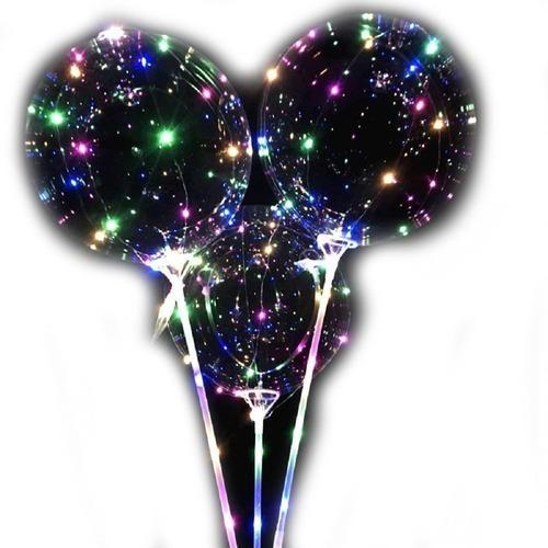 Imagen 1 de 10 de Globos Luminosos Led Cotillón Burbuja Cristal 60cm X5 Unidad