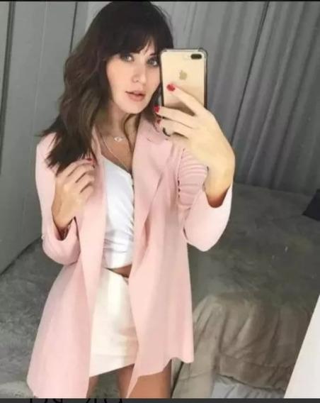 Blazer Feminino Sobretudo Neoprene Longo Plus Size P Ao G3