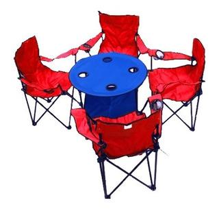4 Silla Plegables De Playa Y Mesa Playa Alberca Camping
