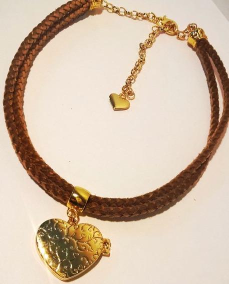 Cordão Relicário Duplo,coração Com Imã